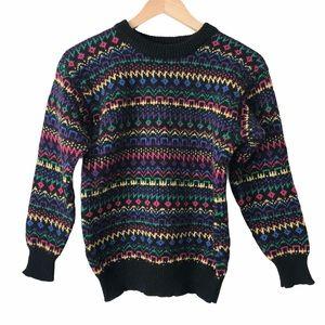 Vintage 80s Women's Fair Isle 🌈 Wool Sweater XS